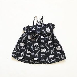 Old Navy black zoo print dress EUC 6-12 months